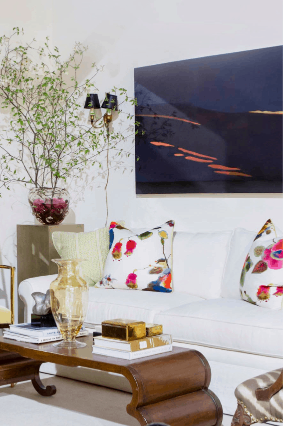 Art by Design project - Living room with paintings, furniture and accessories