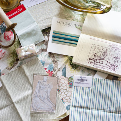 Components of a design scheme with fabrics drawing and decor