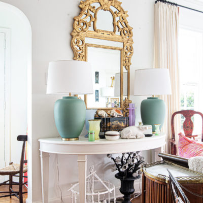 Gilt mirror large green lamps opaline glass on white demilune console table